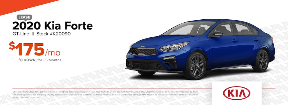 2020 Kia Forte GT-Line Lease: $0 DOWN, $175/mo for 36 months