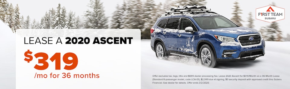 2020 Ascent Lease: $319/mo for 36 months