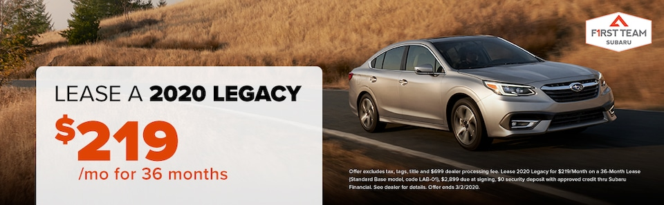 2020 Legacy Lease: $219/mo for 36 months