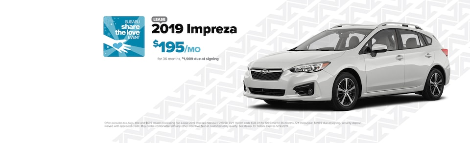 Lease a new 2019 Impreza for $195/Month