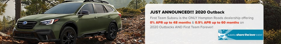 2020 Outback: 0% APR + First Team Forever!