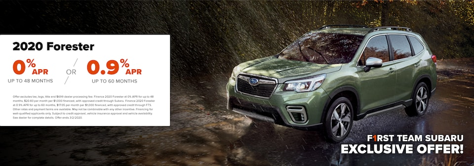 0% APR on 2020 Forester