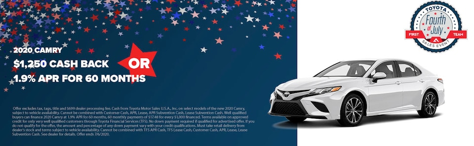 2020 Camry $1,250 Cash Back OR 1.9% APR for 60 months