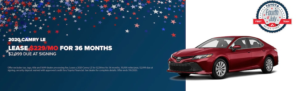 2020 Camry LE Lease $229/mo for 36 Months $2,999 Due at Signing