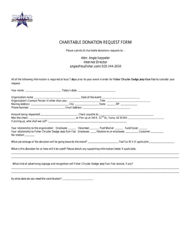 Donation Request Form | Donation Request Form Fisher Chrysler Dodge Jeep Ram