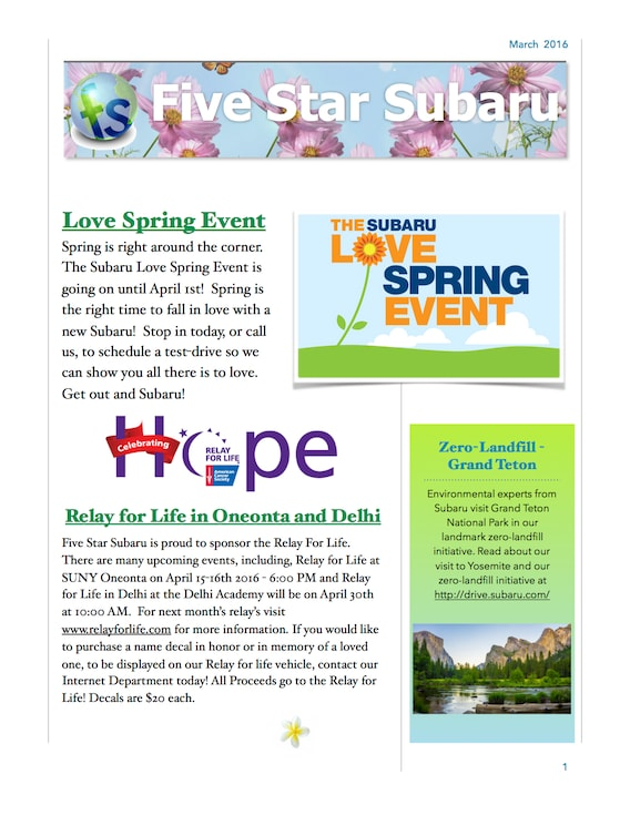 Oneonta Finals Schedule Spring 2020.Newsletter At Five Star Subaru In Oneonta Ny