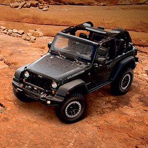 Jeep Wrangler Rubicon Off-Roading on Rocks