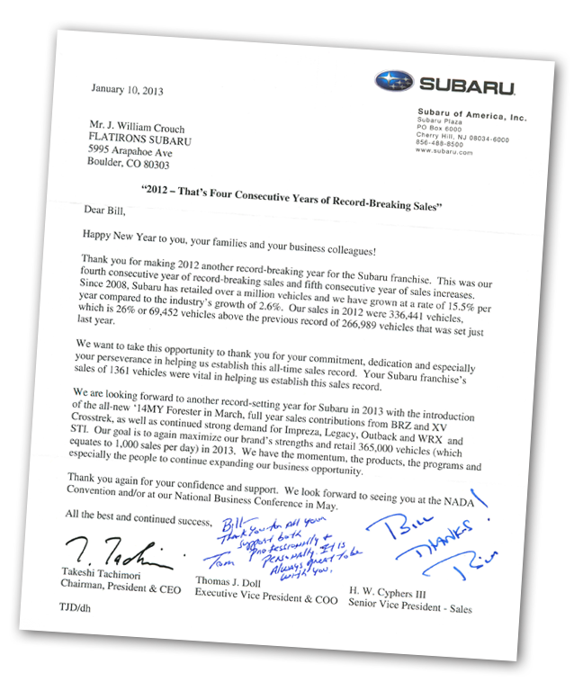 Previous Customer Referral Letter Car Dealership