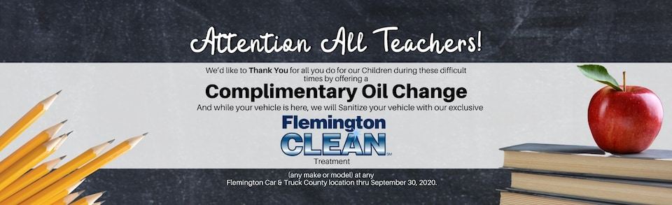 Complimentary Oil Change for Teachers