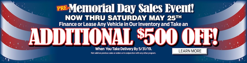 2019 May Pre Memorial Sales Event