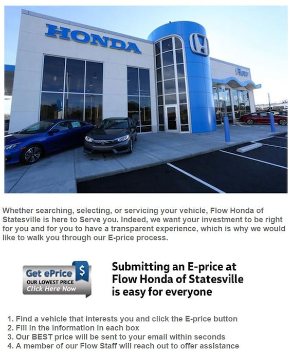 Flow Honda Statesville >> What Do You Get With An E Price From Flow Honda Flow