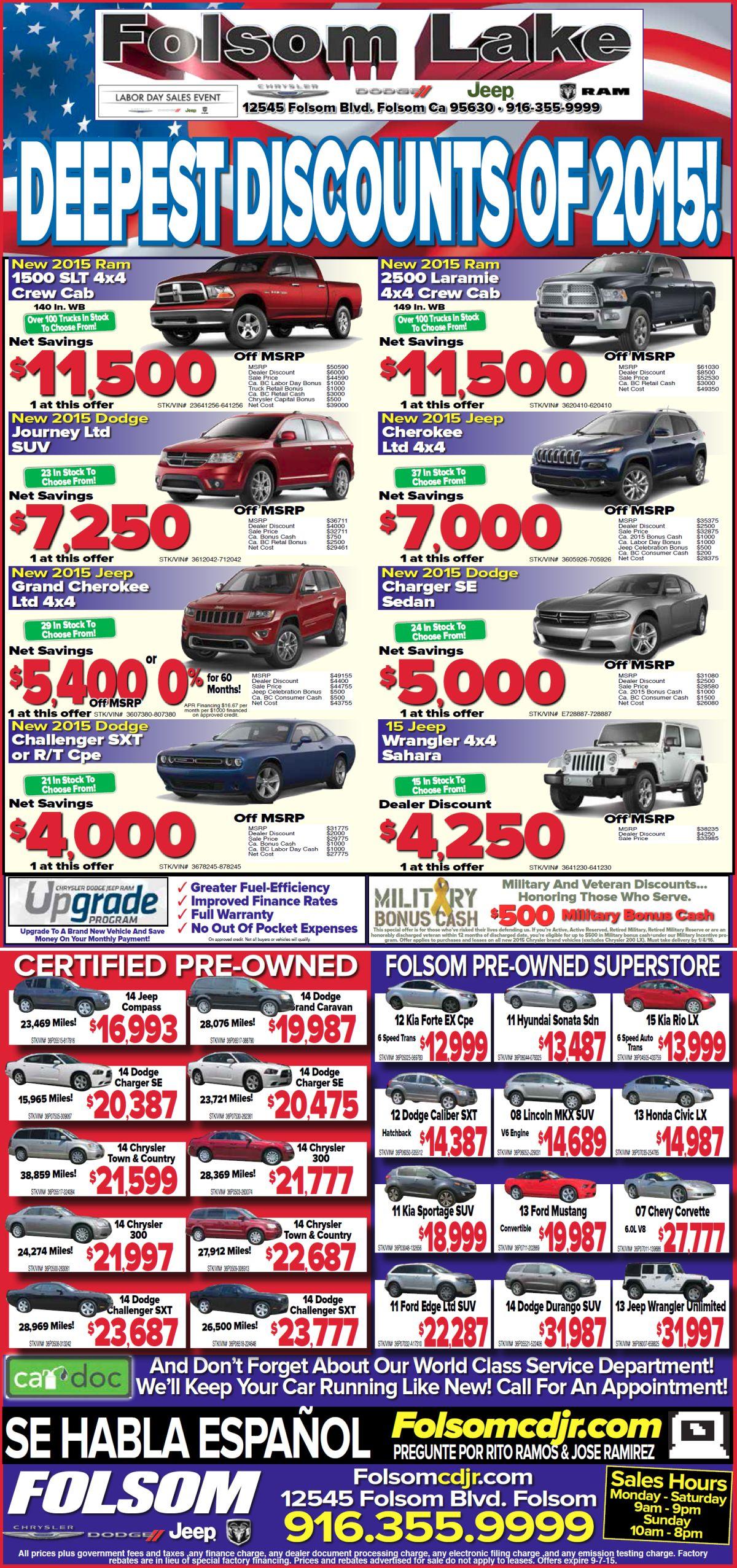 Dodge Ram Chrysler Jeep Newspaper Specials near Sacramento CA