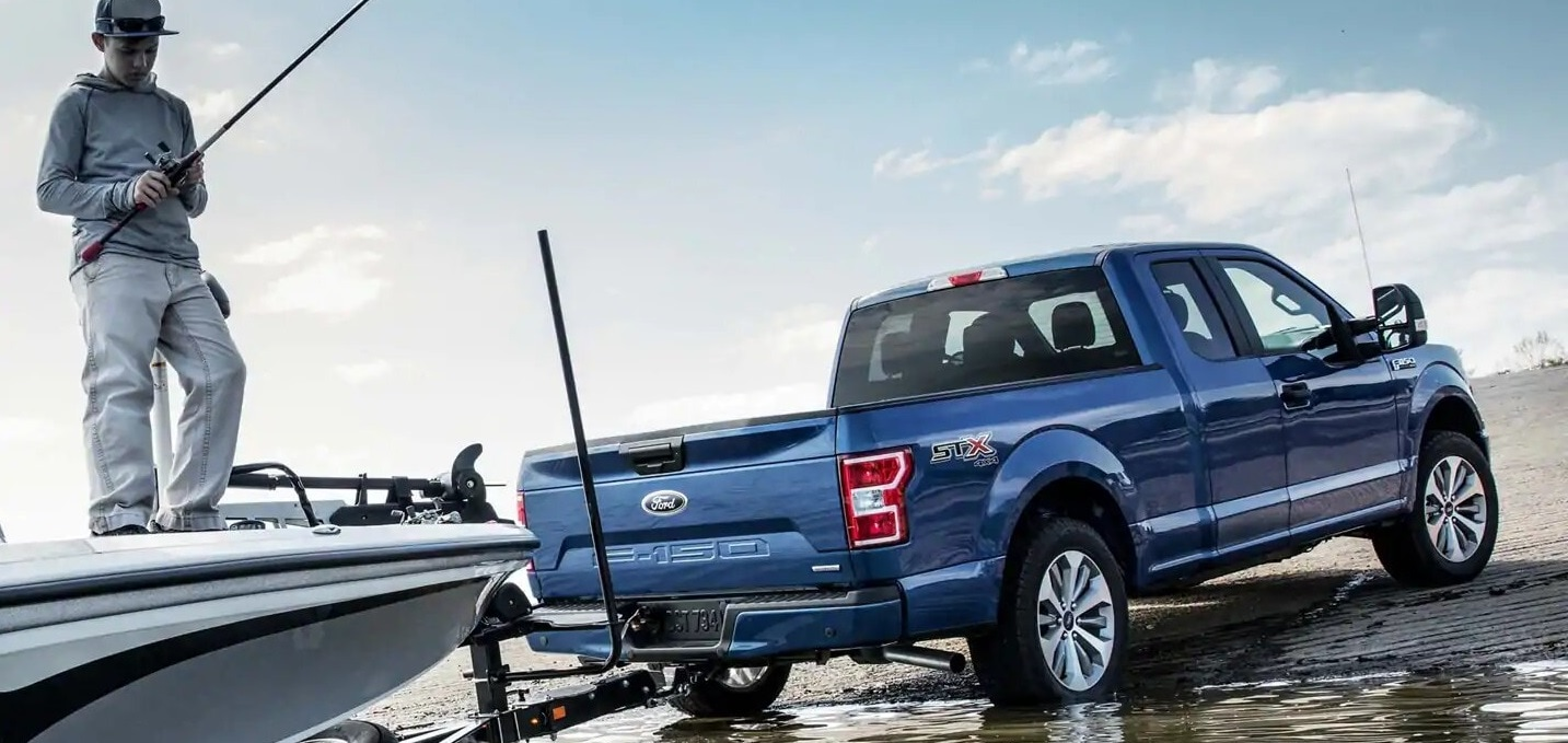A Blue 2019 Ford F150 parked