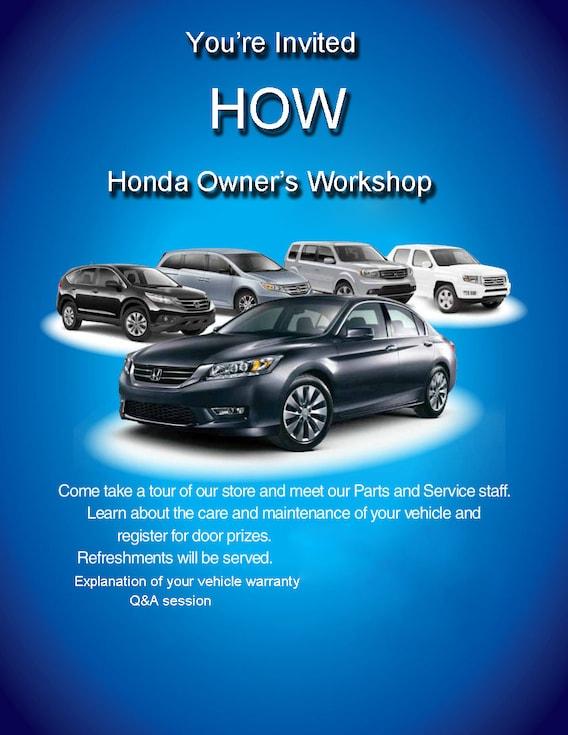 Owners Honda Com >> Honda Owner S Workshop At Folsom Lake Honda