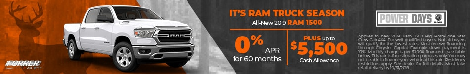 October Ram Truck Season 0% APR Plus Cash Allowance