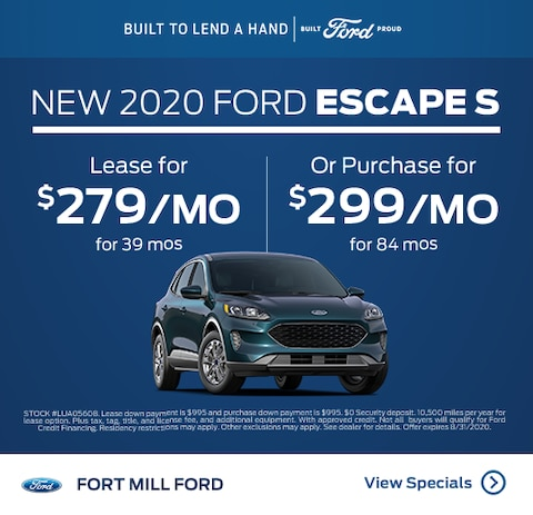 2020 Ford Escape Purchase Specials