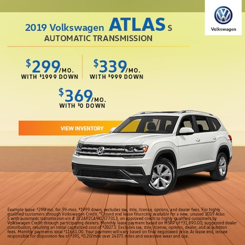2019 Volkswagen Atlas S Automatic Transmission - Lease