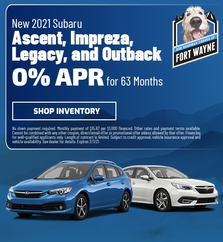 New 2021 Subaru Ascent, Impreza, Legacy, Outback | 0% APR for 63 Months