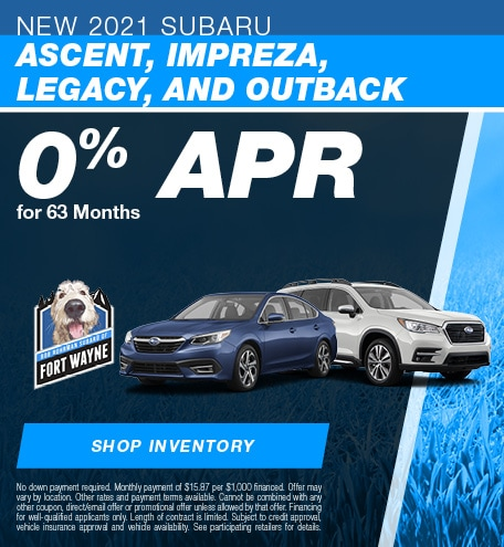 New 2021 Subaru Ascent, Impreza, Legacy, and Outback | 0% APR for 63 Months