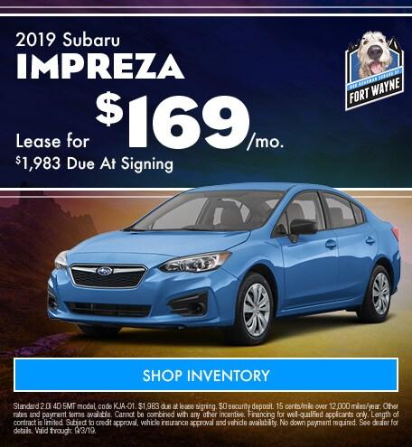August 2019 Subaru Impreza Lease