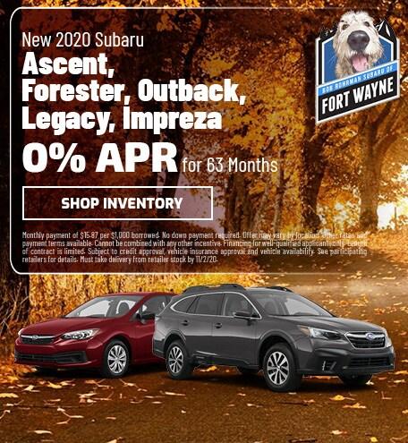 2020 Subaru Ascent, Forester, Outback, Legacy, Impreza | 0% APR for 63 Mo.