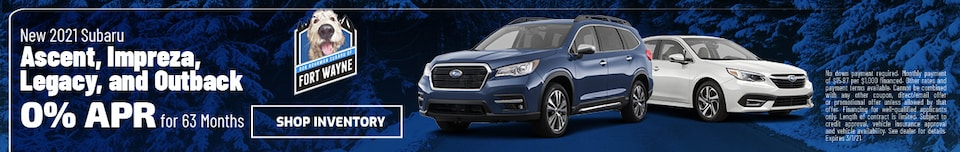 New 2021 Subaru Ascent, Impreza, Legacy, Outback   0% APR for 63 Months