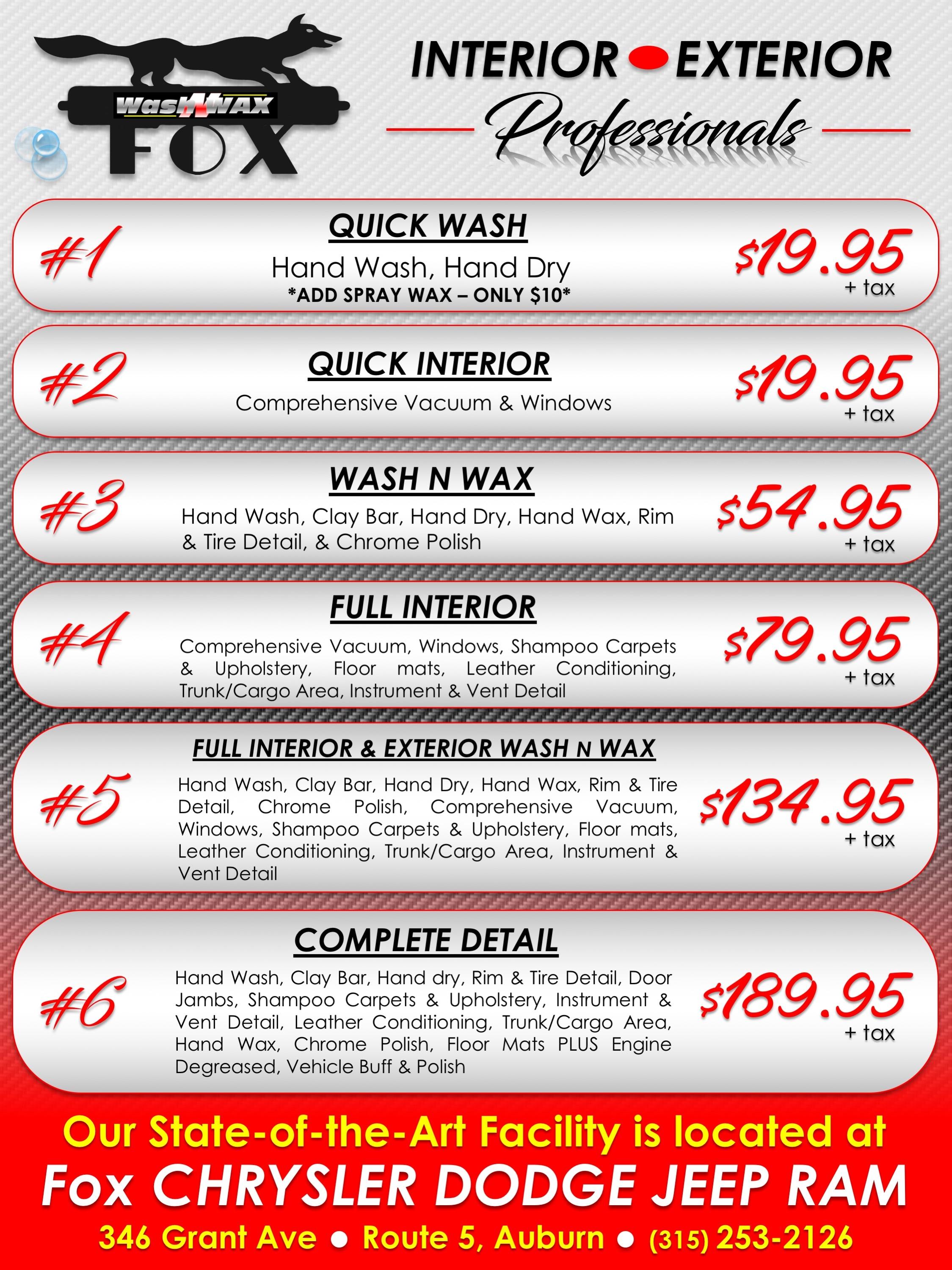FOX Wash N Wax | Fox Dealerships