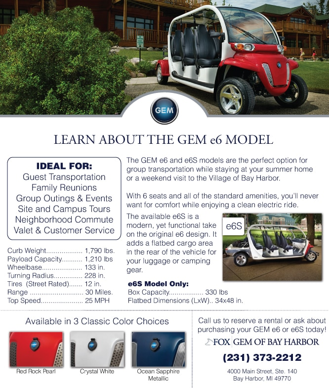 View current gem models and options fox gem of bay harbor for Fox motors charlevoix service