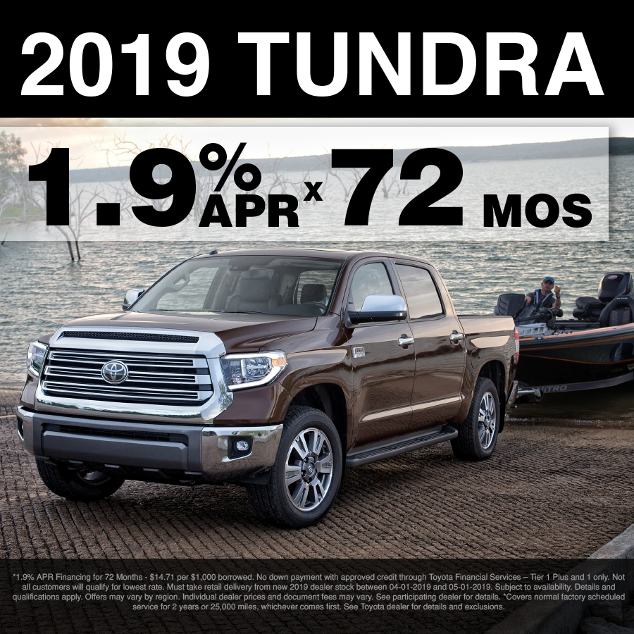Fox APR Special: 1.9% for 72 months on all 2019 Tundra's