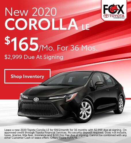 October 2020 Corolla Lease