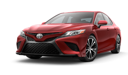 A red 2019 Toyota Camry