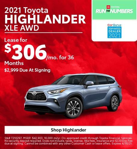 New 2021 Toyota Highlander | Lease