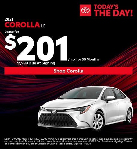 New 2021 Toyota Corolla   Lease