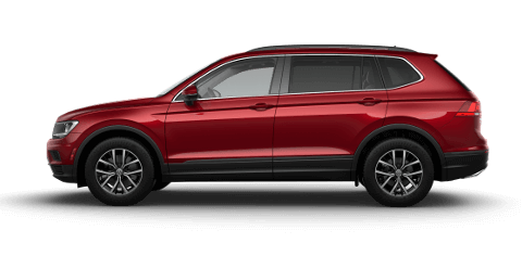A red 2019 VW Tiguan SE