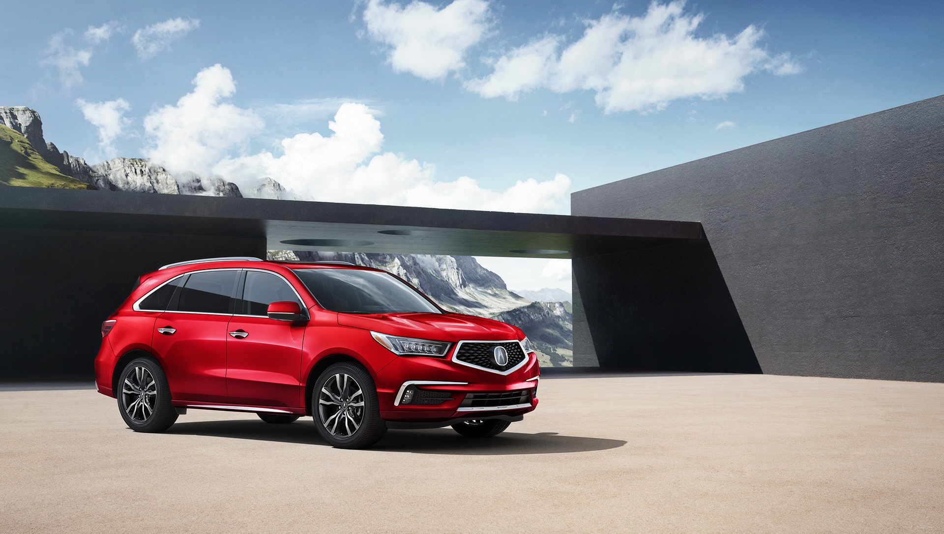 Compare the 2020 Lexus RX & the 2020 Acura MDX at Acura Hunt Valley | Red 2020 Acura MDX parked on tan concrete