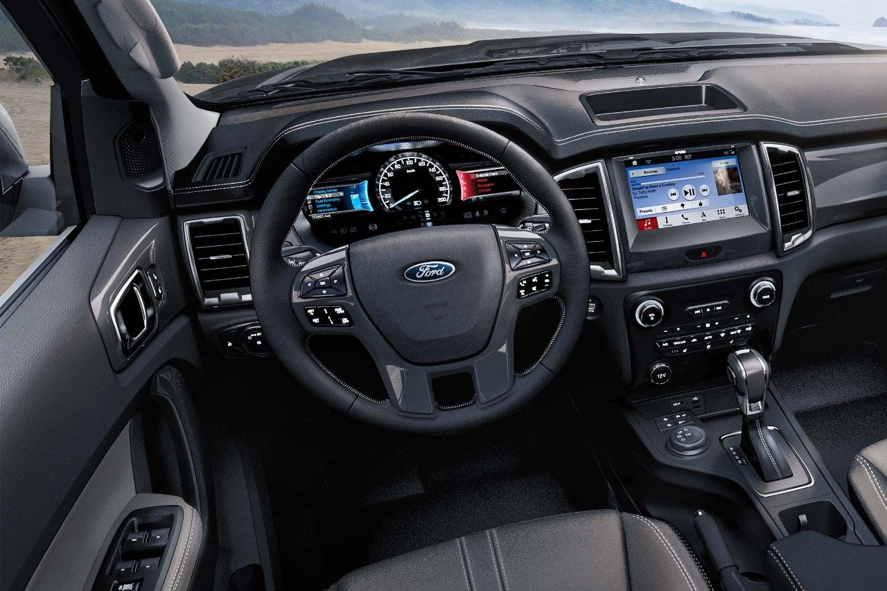 New 2019 Ford Ranger Lariat Interior with a Digital Info Display and a Touchscreen Infotainment Radio System