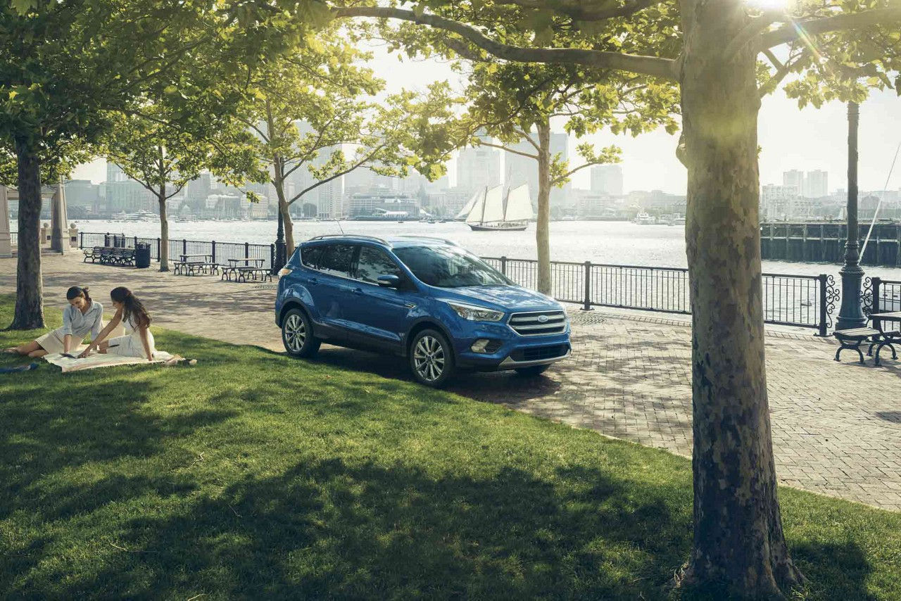 New Blue 2018 Ford Escape at a Sunny Park Next to a Lake