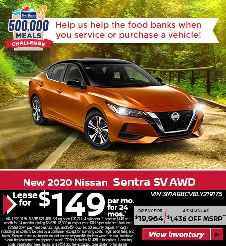 Lease a 2020 Nissan Sentra SV for $149/mo for 24 mos