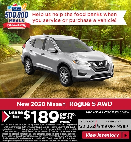 Lease a 2020 Nissan Rogue S AWD for $189/mo for 36 mos