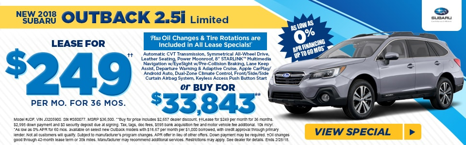 Fred Beans Subaru >> Lease A 2018 Outback Limited For 249 Mo At Fred Beans