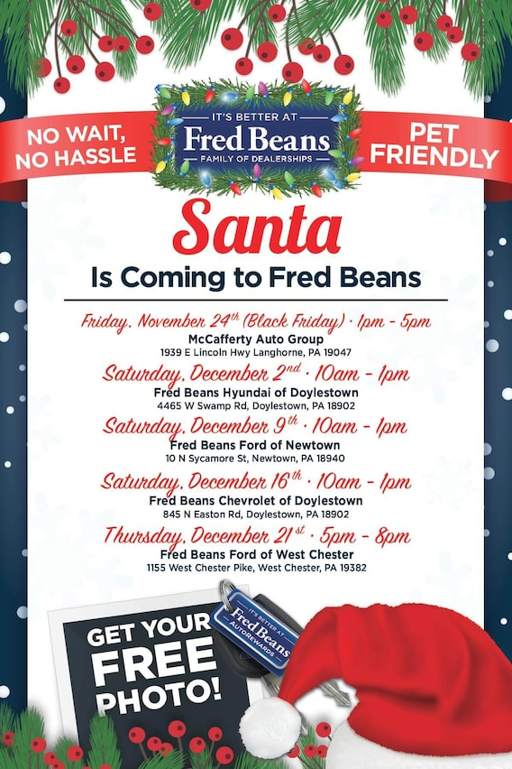 Fred Beans Doylestown Pa >> Santa Is Coming To Fred Beans Hyundai Doylestown Pa