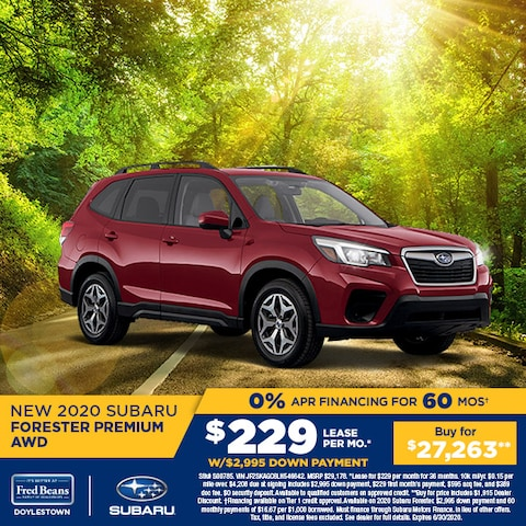 Lease a 2020 Subaru Forester Premium for  $229/mo for 36mos