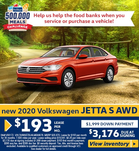 Lease a 2020 VW Jetta 1.4T S for $193/mo for 39 months!