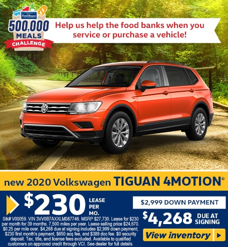 Lease a  2020 VW Tiguan 2.0T S 4MOTION for $230/mo for 39 months!