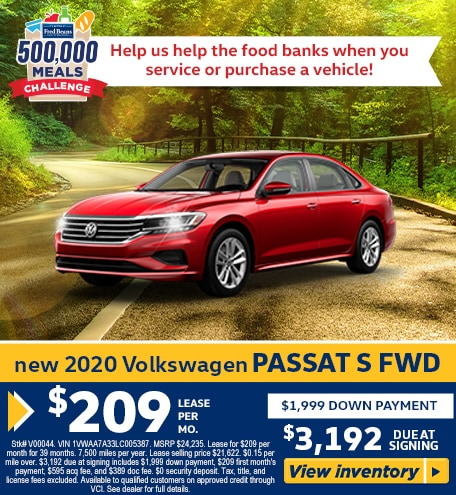 Lease a 2020 VW Passat 2.0T S AWD for $209/mo for 39 months!