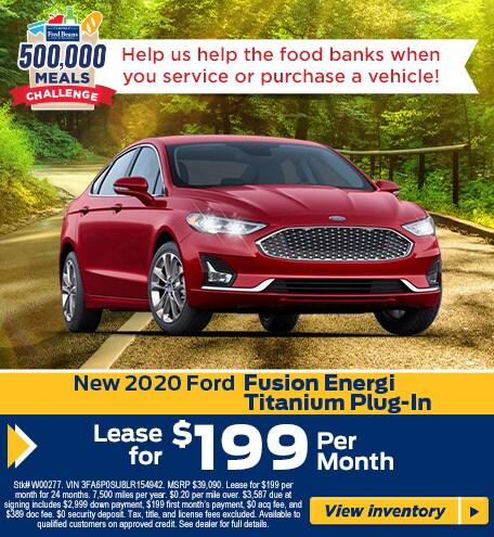 Lease a  2020 Ford Fusion Energi Titanium for $199/mo for 24 mos