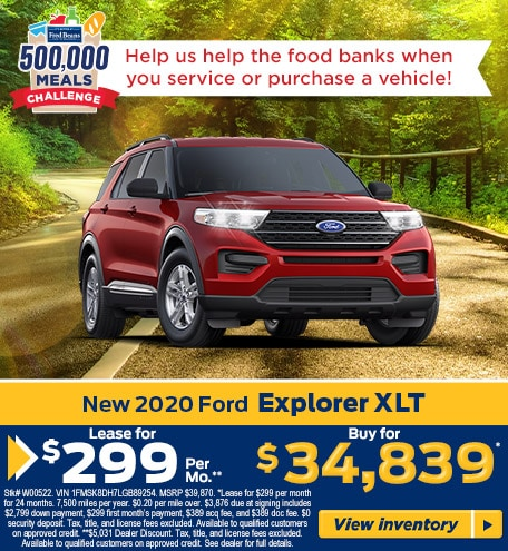 Lease a 2020 Ford Explorer XLT 4WD  for $299/mo for 24 months