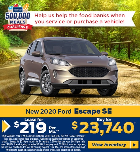 Lease a 2020 Ford Escape SE for $219/mo for 24 months