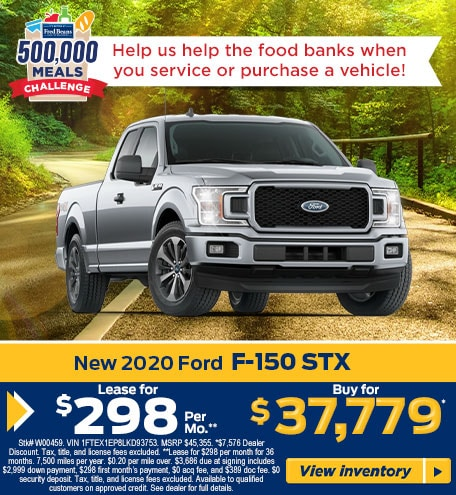 Lease a 2020 Ford F-150 STX for $298/mo for 24 months