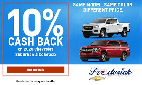 10% Cash Back on 2020 Chevrolet Suburban & Colorado - September